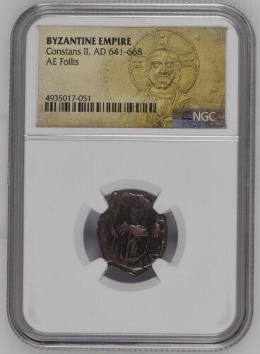 AD 641-668 Byzantine AE Follis NGC - Constans II