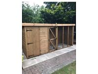 Pent dog kennel and 8ft run - immaculate condition