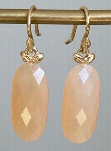 Designer GABRIELLE SANCHEZ ~ 14K Yellow Gold & Peach Moonstone Drop Earrings