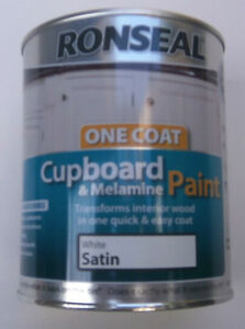 Ronseal one coat cupboard melamine paint white satin for One coat white paint
