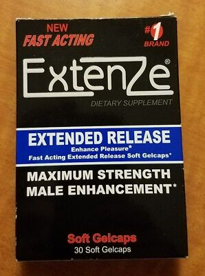 Extenze Maximum Strength Extended Release 30 Soft Gel Caps Exp 2019