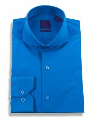 Mens Slim Fit Cutaway Collar Stretch Cotton Turquoise Vibrant Blue Dress Shirt  ()