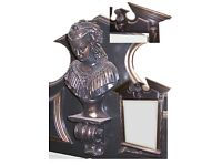 Large Individual Black & Gold Queens Head Mirror