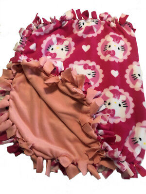 Cute Hello Kitty Fleece Tie Blanket Sm to Lg Pet Dog Cat or Baby Infant