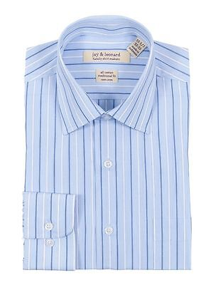 Classic Fit Light Blue Striped Easy Care Non Iron 100% Cotton Dress - Light Blue Striped Dress Shirt