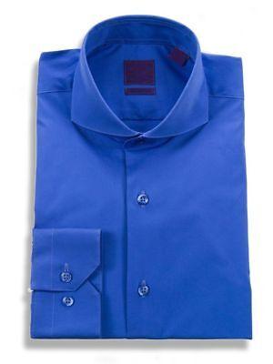Mens Slim Fit Cutaway Collar Stretch Cotton Cobalt Blue Dress Shirt  ()