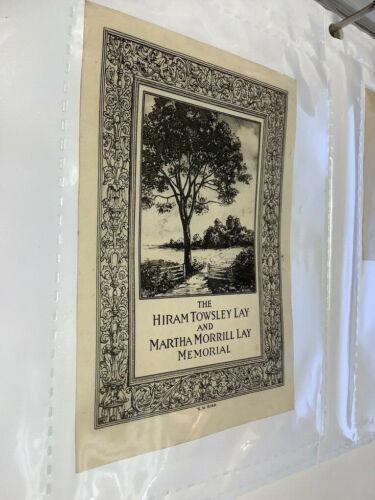 Original BOOKPLATE - the Hiram Towsley Lay memorial w tree, gate