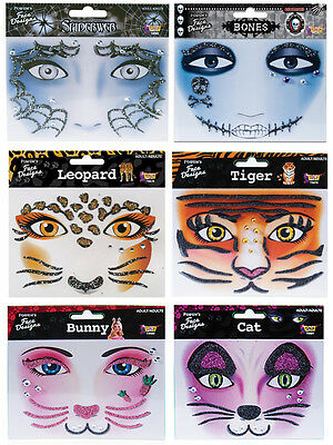 Instant Makeup Face Designs Tiger Leopard - Bones - Spiderweb - Bunny - Cat fnt
