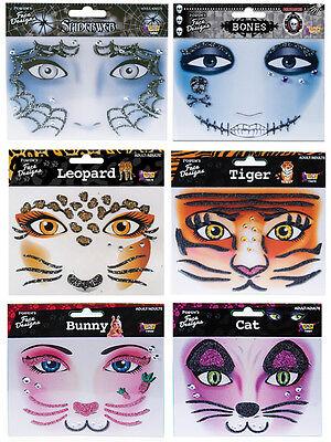 Instant Makeup Face Designs Tiger Leopard - Bones - Spiderweb - Bunny - Cat fnt - Halloween Cat Face Designs