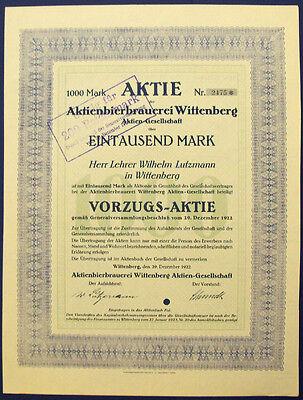 Wittenberg Aktienbierbrauerei Vorzugs-Aktie 1000 Mark 1922 Lutherstadt
