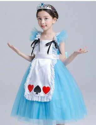 Children Girls Kids Alice in Wonderland Halloween Costume Tulle Dress Gown ZG9 - Children's Wonderland Halloween