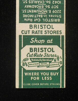 1950s Bristol Cut Rate Stores Drugs Baltimore Westminster Annapolis Bel Air (Bel Air Stores)