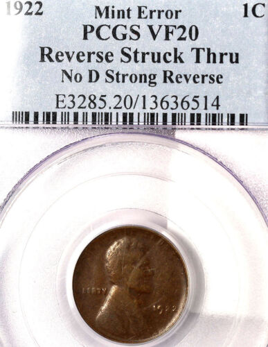 1922 No D 1C Strong Reverse VF20BN PCGS--Mint Error Reverse Struck thru-2907 IN