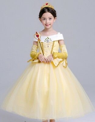 Beauty and Beast Sleeveless Princess Belle Costume Halloween Party Girls Dress