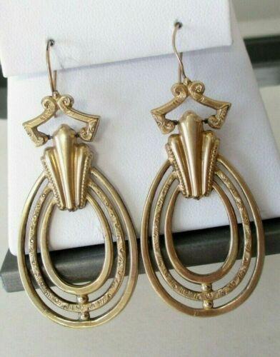 "ANTIQUE Vintage VICTORIAN GOLD FILLED DANGLE PIERCED EARRINGS 2-3/8"""