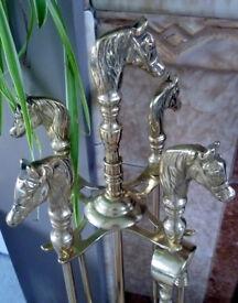 Brass Companion Set: Vintage/Antique: Horses