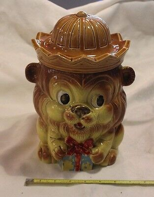 Vintage 1960's  Lion With Gift/present Cookie Jar ceramic Japan Cute Whimsical