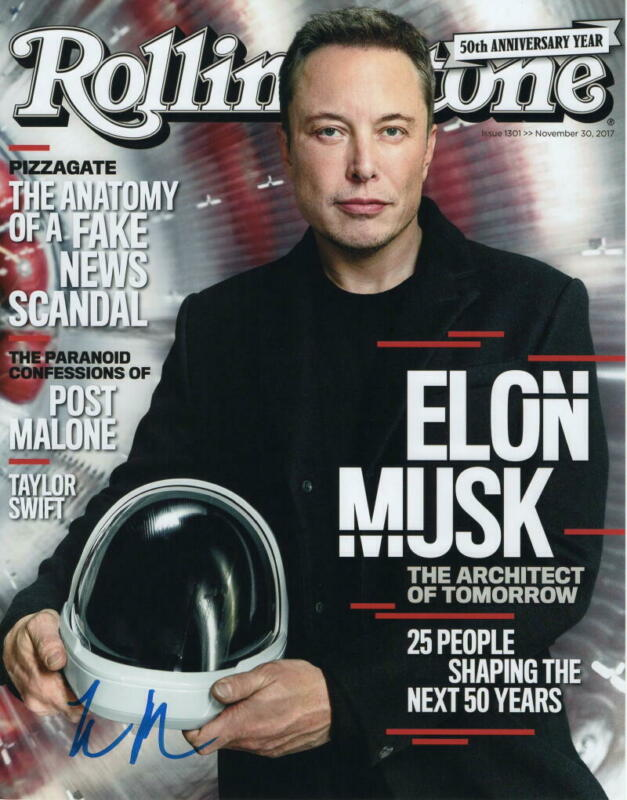 ELON MUSK SIGNED AUTOGRAPH ROLLING STONE MAGAZINE 11X14 PHOTO  TESLA SPACEX ACOA