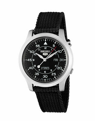 Seiko 5 SNK809 MILITARY Automatic Day-Date Black Nylon Band Men's Watch SNK809K2