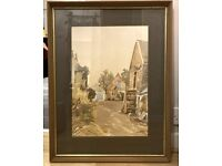"""Original Watercolour Painting 28"""" X 21"""" Colomendy Farm By Wilfred Wilson Framed"""