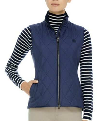 G/Fore Sweater Lined Quilted Vest $275 Twilight Blue Merino Wool S Womens GFore