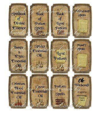 Halloween witchcraft potion spells 12 laminated labels scrapbooking set - Halloween Spell Labels