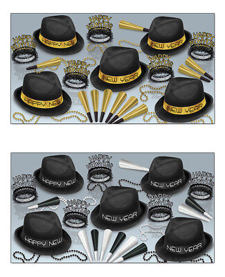 New Year Party Hats (New Year Party Chairman Assortment for 10 Horns Hats Tiaras Beads Celebrate)