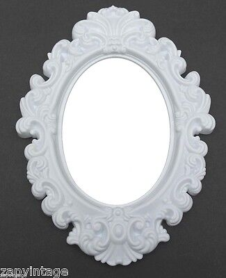 New Snowy Oval SHABBY CHIC / VICTORIAN Gothic Style Plastic Hanging Wall Mirror