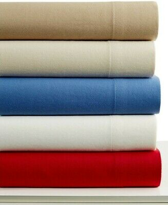 Martha Stewart Collection Solid Flannel 4 Piece QUEEN Sheet Set OFF WHITE ()