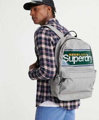 Superdry Stripe Logo Montana Backpack in Grey Marl