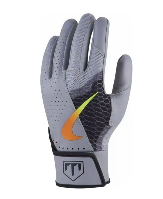 Nike Trout Force Edge Baseball Batting Gloves Youth Small Gray w/Black $30 84725