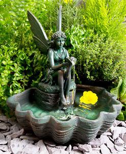 Fuente de agua solar hada con luces jard n decoraci n - Fuente solar jardin ...