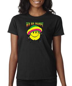Smiley-Face-We-be-Happy-Jamaica-Rasta-Ladies-Tee-T-Shirt