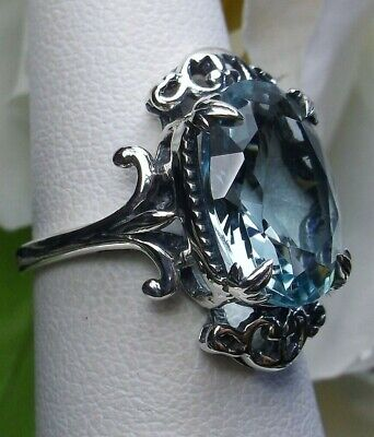Oval 5ct Sim Aquamarine Sterling Silver Goth Prong Filigree Ring (Made To (Filigree Prong)