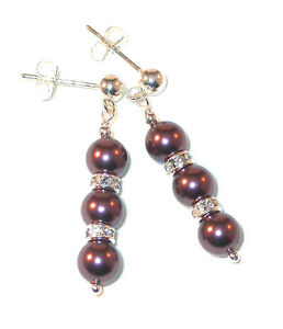 BURGUNDY-Pearl-Earrings-Swarovski-Crystal-Elements-Sterling-Silver-Dangle