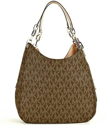NWT MICHAEL Michael Kors Fulton Brown Signature MK Logo Large Shoulder Bag Tote