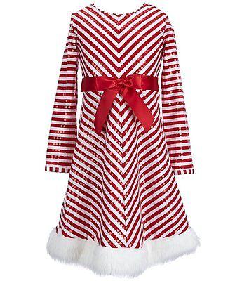 Bonnie Jean Girls (7-16) Red/White Stripe Sequin Santa Christmas Dress w/Fur Hem - Girls Christmas Dresses 7-16
