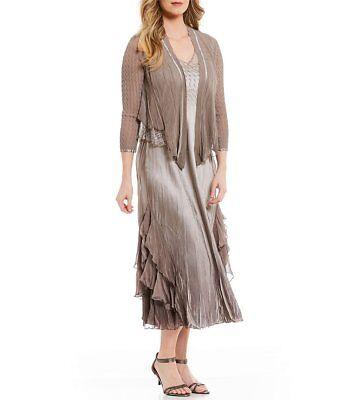 NWOT oyster smoke  ombre Komarov 2-Piece Ruffle Hem Jacket Dress size XL