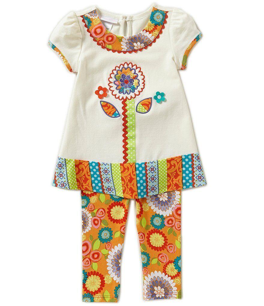 baby girls textured flower multi spring legging