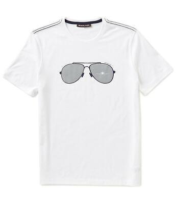 New Mens Michael Kors White Crew Neck Sunglasses Aviator Graphic T Shirt M