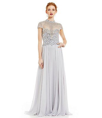 502d11ea8af Terani Couture Beaded High Neck Chiffon Gown In Silver Size 16 NWT