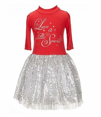 Bonnie Jean Little Girls 2T-6X Christmas Holiday Red Silver Sparkle Tutu Dress