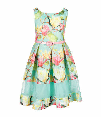 Bonnie Jean Big Girls Easter Holiday Floral Belted Mint Pink Dress 7 - 20 - Holiday Dresses Girls