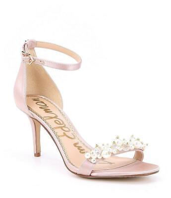 Sam Edelman Platt Pearl Detail Pink Satin Heels Ankle Strap Shoes Size 8 M