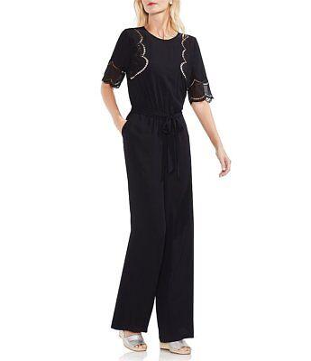 VINCE CAMUTO Black Embroidered Eyelet Short Sleeve Wide Leg Pants Jumpsuit XL 16