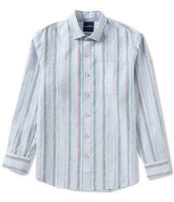New Tommy Bahama Mens Emerald Shores Stripe Ls Button Down Shirt Medium  118