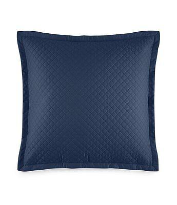 "Ralph Lauren Wyatt Quilted Sateen 20"" Square Decorative Pillow Polo Navy $115"