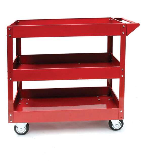 HILKA TOOL CART SERVICE TROLLEY NEW RED METAL 3 TIER PARTS STORAGE GARAGE CHEST
