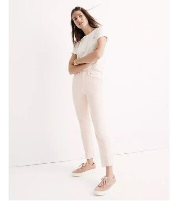Madewell Garment-Dyed Straight-Leg High Rise Jeans Raw Hem Sz 26 Coral Pink