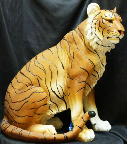 """Large 20"""" Tall Bengal Tiger Sitting On Guard Decorative Garden Statue"""